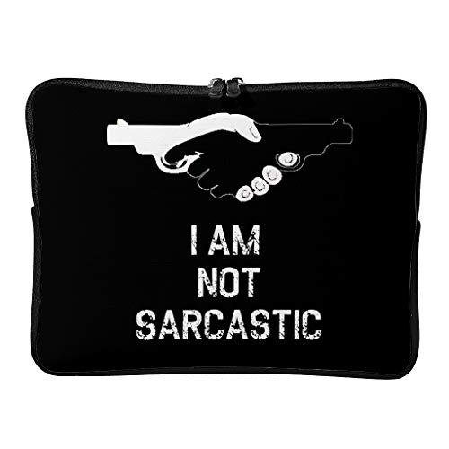 simple laptop sleeve I Am Not Sarcastic Water-Repellent Fabric Laptop Shoulder Bag for Men white 10 zoll