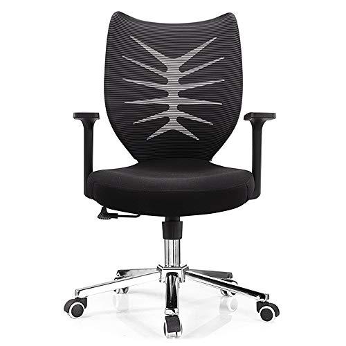 Vobajf Silla de oficina ergonómica para oficina, moderna y minimalista, giratoria, silla de ordenador, silla de malla para el hogar, sillas de escritorio (color negro, tamaño: 96 – 104 x 64 cm)