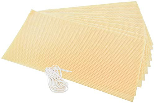 Stakich Candle Making Beeswax Kit, 10 Full Size Sheets - 8 1/8 Inch x 16 3/4 Inch) - Pure Beeswax