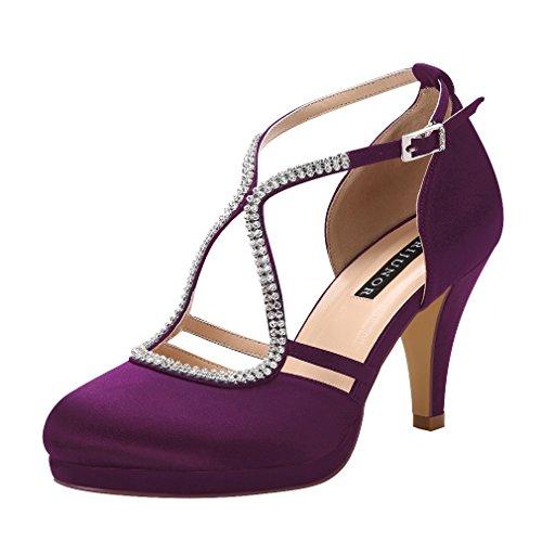 ERIJUNOR E0260D Women Comfort Low Heel Closed-Toe Ankle Strap Platform Satin Bridal Wedding Shoes Plum Size 9.5