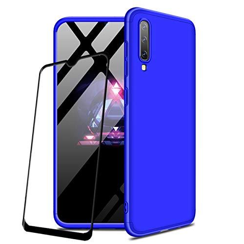 JOYTAG compatibles para Funda Samsung Galaxy A50 Carcasa +Protectora de película de Vidrio Templado 360 Grados Ultra Delgado 3 en 1 Case-Azul