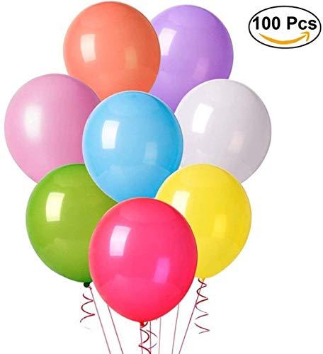 Herefun 100 Globos de Fiesta de Diversos Colores, Globos de Látex y Decoraciones para Cumpleaños, Fiestas, Bodas, Propuestas, Reuniones y Otras Celebraciones