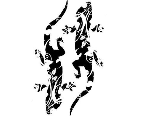 Fenstertattoo No.CG105 Floral Geckos Gecko Reptilien Floral Ornament Eidechse | Glasdekorfolie selbstklebend Milchglasfolie 5 Farben Fensterfolie Klebefolie Glasdekorfolie Sichtschutz Blickschutz Milchglas Fenster Bad Farbe: Frosted; Größe: 194cm x 122cm