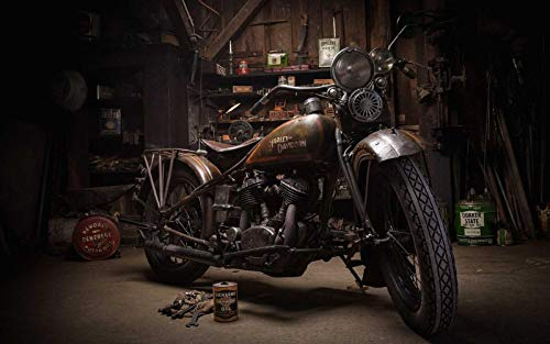 GAGALAM Puzzel Für Erwachsene Holzpuzzle Retro Motorrad.Bestes Geschenk Für Kinder Oder Freunde, Home Art Deco-Malerei