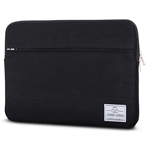 Johnny Urban Laptophülle 13-13.3 Zoll Schwarz Canvas Laptop Sleeve Laptoptasche Hülle für Surface Book, Acer, Asus, Samsung, Dell, Toshiba UVM. - 13/13.3