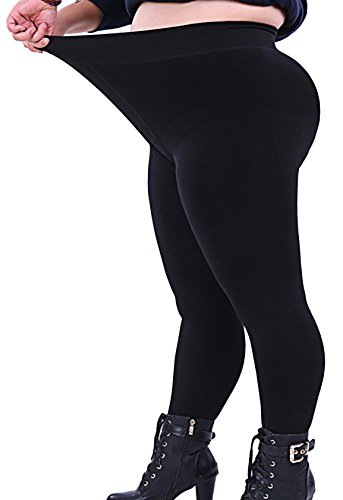 Black Leggings for Women Plus Size Wide Waisted Cotton 4XL 28W