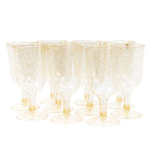 100 Piezas Copas de Vino de Plástico Desechables, Brillo Dorado 170ml - Elegante, Resistente y Reutilizable - Perfecto para Catering Fiestas Cumpleaños Bodas Navidad Año Nuevo.