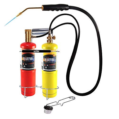 Product Image of the BLUEFIRE Oxygen MAPP/Propane Cutting Torch kit Free Accessory of Flint Lighter and Cylinder Holder Rack Duel Fuel by Oxygen and MAPP PRO/Propane Welding Brazing Soldering Gas Cylinders Not Included