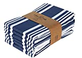 Product Image of the Urban Villa Kitchen Towels,Trendy Stripes, 100% Cotton Dish Towels,Mitered Corners, (Size: 20X30 Inch), Indigo Blue/White Highly Absorbent Bar Towels & Tea Towels - (Set of 6)