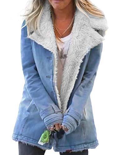 Chaqueta vaquera para mujer, forro polar con botones, abrigo, abrigo, abrigo, con bolsillos, para invierno