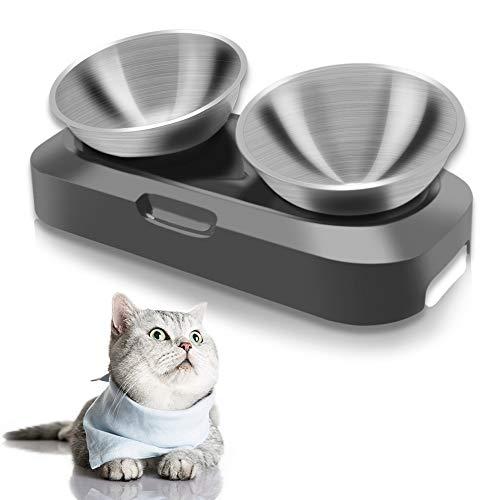 TANGN Anti Erbrechen Katzenschüssel Edelstahl Doppelschüssel Näpfe für Kitten Katzen Hund Und Kaninchen Gross, Schräge 15° Raised Katzenfutterschale mit rutschfest Ständer, Spülmaschinenfest
