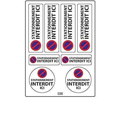 Planche A4 de stickers ultra-destructible stationnement interdit adhésif - U04