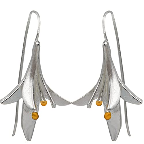 PROVISTO Ohrringe eleganter Damenschmuck Silber Gold Ohrhänger in Schmuck Geschenk Box 3,5 cm lange Ohrringe in Tulpenform