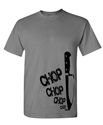Chefs Knife chop chop - Cook Gourmet Foodie - Mens Cotton T-Shirt, L, Charcoal