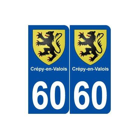 60 Crépy-en-Valois blason autocollant plaque stickers ville - Angles : arrondis