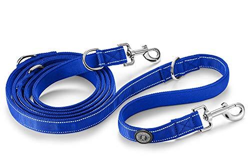Thunderdog Correa para perros azul, reflectante hasta 280 cm, flexible, ajustable gracias a 4 ojales metálicos – Correa ajustable para perros Retrieverleine (azul 2,8 m)