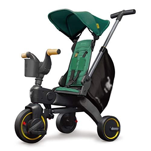 ZYM Cochecito de bebé del Carro de la muñeca Cochecito Plegable Montar a Caballo del Triciclo de Pedales, manijas Ajustables, 0-3 Años de Edad (Color : Green)