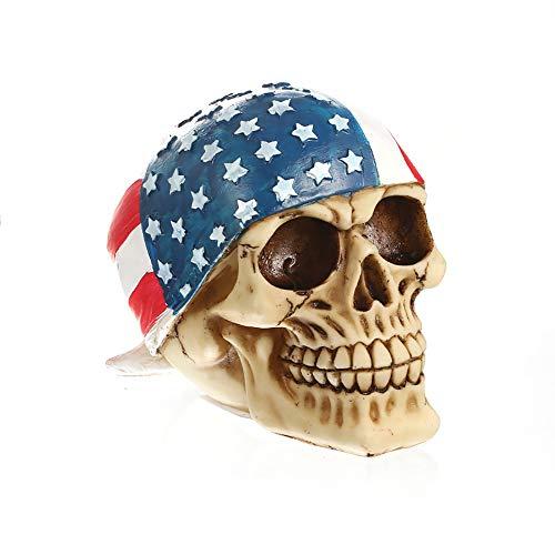 ZHZX Kreativer menschlicher Schädel, die Stern-Flitter-Fahnen-Schädel-Kunstharz-Skulptur, verblassen und langlebiges Gut, für Inneneinrichtung Halloween