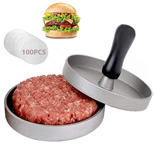 AMAYGA Pressa per Hamburger Pressa Stampa in Alluminio + 100 Carta Antiaderente, Perfetto per Hamburger,Cheeseburger,Fricadelle, Polpete,Padella,Barbecue,Antiaderente