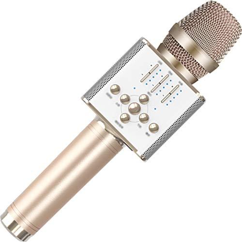 YHRJ Micrófono de Karaoke en casa,Festival Fiesta Cantando Equipo de música,Adecuado para teléfonos Inteligentes PC,Sonido de 2 Altavoces/4 Tipos de Efectos de Sonido (Color : Gold, Size : 27cm)