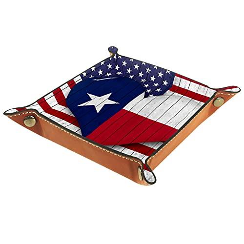 Bandeja de Cuero América bandera patrón en forma de corazón texas Almacenamiento Bandeja Organizador Bandeja de Almacenamiento Multifunción de Piel para Relojes,Llaves
