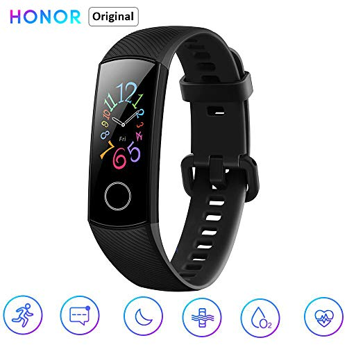 Honor Band 5 0,95' Smartwatch Schermo AMOLED a Colori Waterproof Heart Rate Monitor Wristbands Bracelet con iOS e Android Nero(Versione Globale)