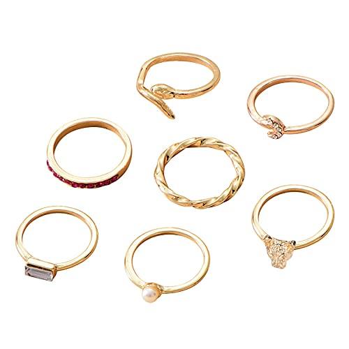 minjiSF Juego de anillos de oro con diamantes para mujer y niña, estilo bohemio, elegante, fino, no se decolora, anillo de compromiso único, 7 unidades (oro)