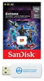 SanDisk Extreme 256GB MicroSDXC Card for Mobile Gaming Works with Compatible Samsung Galaxy Phone, Motorola Moto Phones, LG Smartphones (SDSQXA1-256G-GN6GN) Bundle with (1) Micro SD Memory Card Reader