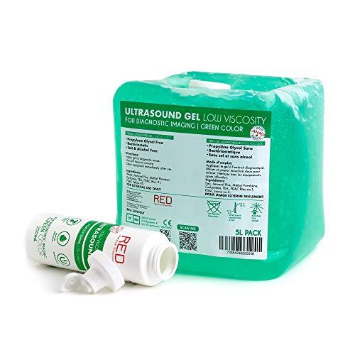 Green Ultrasound Conductive Gel for Fetal Doppler Tens Machine - Low Viscosity Gel (5L Pack)