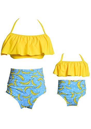 GRASWE Mother and Daughter Swimwear Print Family Matching Swimsuit Girls Falbala 2 Pcs Bathing Suits Yellow Banana 5-6X