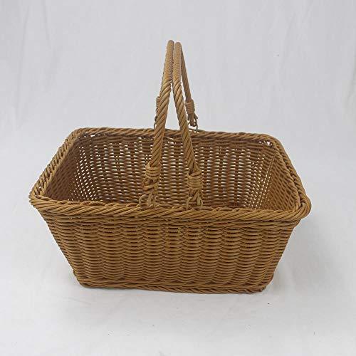 Cesta de picnic portátil, rota tejida de mimbre cesta de la compra del supermercado,Piazza Brown,King Square 45 * 35 * 25cm