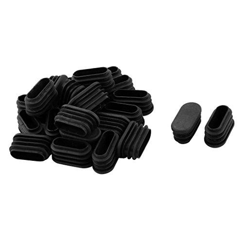 Sourcingmap® 21Stk Schule Plastik ovale Stuhlbein Fußschutz Abdeckung Stopfen Schwarz 32x15mm de