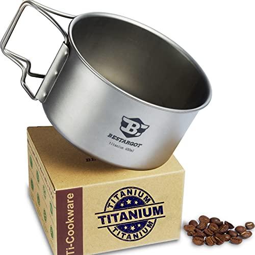 Bestargot Titan Camping Tasse 450ml Camping Becher Outdoor Topf,Ultraleicht Titanium Outdoor-Tasse mit Klappgriff & Netzbeutel
