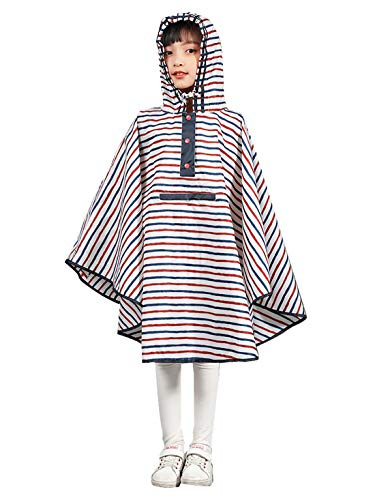 Urbear - Capa impermeable para niña, impermeable, con bolsa de transporte, talla S-XL multicolor L