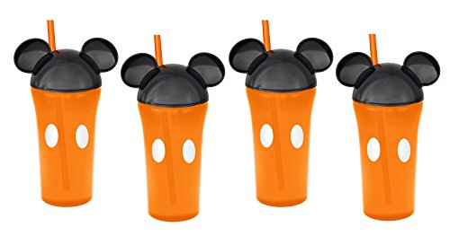 Zak Designs 4-Pack Disney Mickey Mouse 13oz Travel Tumbler Orange Cups with Ear Lids & Straws
