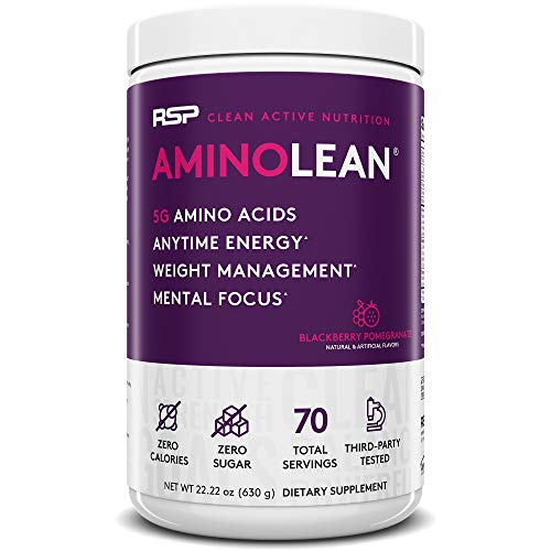RSP AminoLean - All-in-One Pre Workout, Amino Energy, Weight Management Supplement with Amino Acids, Complete Preworkout Energy for Men & Women (Blackberry Pomegranate, 70 Serv)