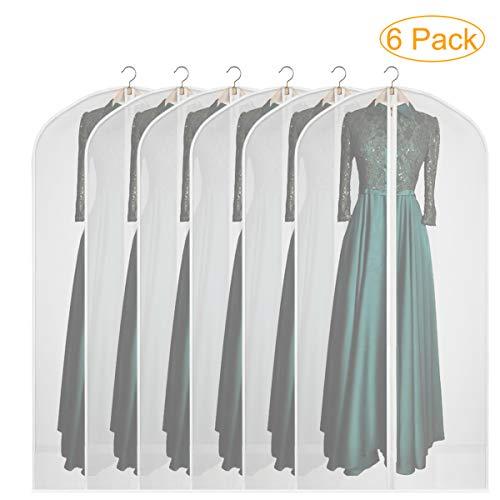 Syeeiex Dustproof Garment Covers Bags Breathable Suit Dresses Cover Bag (Set of 6) (24″ × 60″ - 6pcs)