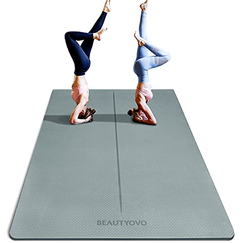 6' x 4' Large Yoga Mat, 1/3 Inch Extra Thick Yoga Mat Double-Sided Non...