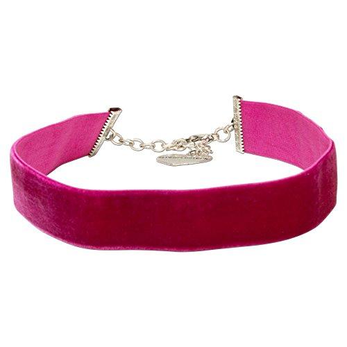 Alpenflüstern Trachten-Samt-Kropfband breit - Trachtenkette enganliegend, Kropfkette elastisch, eleganter Damen-Trachtenschmuck, Samtkropfband pink-Fuchsia DHK199