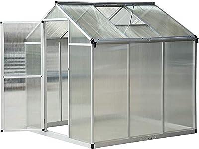 Marco de aluminio de efecto invernadero transparente pie-base galvanizado plantas de paisaje,Silver
