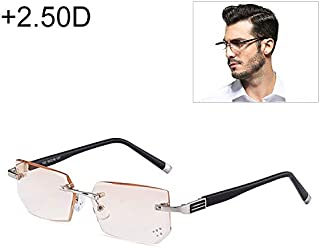 WTYD Clothing and Outdoor Accessories Men Anti Fatigue & Blue-ray Rimless Rhinestone Trimmed Presbyopic Glasses, 2.50D Outdoor Equipment