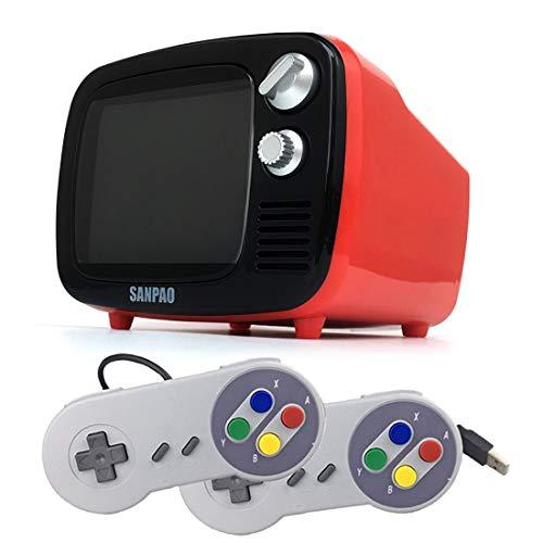 Xshion 3,5 Zoll Video Spielkonsole Retro TV mit Spielen, Drahtlose Portable Spielekonsole mit 2 STK. SFC Wired Gamepads(Eingebautes Android 7.1 System)