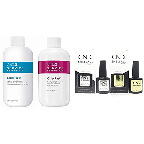 CND Scrubfresh and Offly Fast Remover Kit - 444ml (2x 222ml) & Original Shellac Base Coat plus Top...
