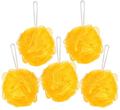 BRUBAKER Cosmetics Esponjas de Flor Exfoliante - Malla de Nylon para el Cuerpo - Puff Pufs Bola de Baño y ducha - 5 piezas - Amarillo