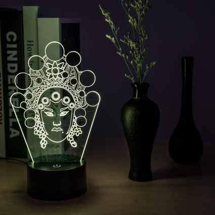 Luz de noche 3D para dormir para nios Lmpara de escritorio con interruptor tctil Control remoto 7 colores para regalos cumpleaos Festival dormitorio decoracin lmpara (disfraz)