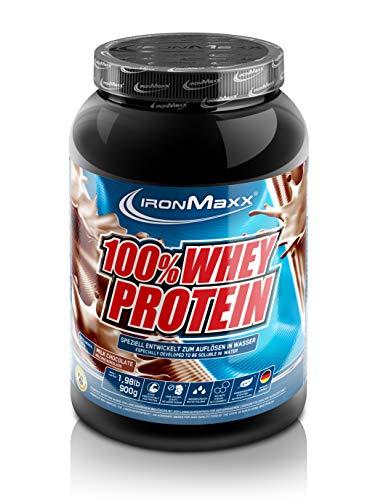 IronMaxx 100% Whey Protein – Whey Proteinpulver Schokolade auf Wasserbasis – Eiweißpulver für Eiweißshake mit Milchschokoladen Geschmack – 1 x 900 g Dose