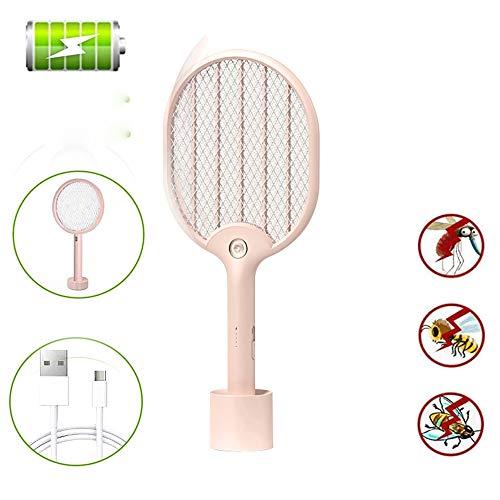 Elektrische Insektenvernichter USB Aufladbare Fliegenklatsche Led Moskito-Klatsche Für Indoor Camping Und Outdoor-Wespe Fliegen Schädlingsbekämpfung Mit 3 Lagen Sicherheits Touch-Net Pink