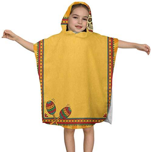 Fiesta Kid Toalla de playa, patrón de marco con calavera sombrero y Maracas elementos mexicanos geométricos, longitud 48 pulgadas albornoz de microfibra para niños niñas 3-7 años Poncho Cape