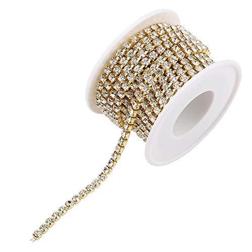 Sheens Cadena de Diamantes de imitación de 4 mm y 5 Yardas, Adornos de Taladro de imitación de Vidrio Transparente de Bricolaje Apliques para Ropa Accesorios de decoración de Muebles(Dorado)