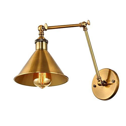 ZAKRLYB Lámpara de pared Tipo de botón Double Sección de hierro forjado Lámpara ajustable Brazo Plegable LED Dormitorio Casita de noche Corredor Iluminación Adecuado for tienda de ropa de oficina Tien